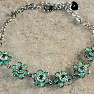 Jewelry - Green Fire Opal Silver Flower Bracelet